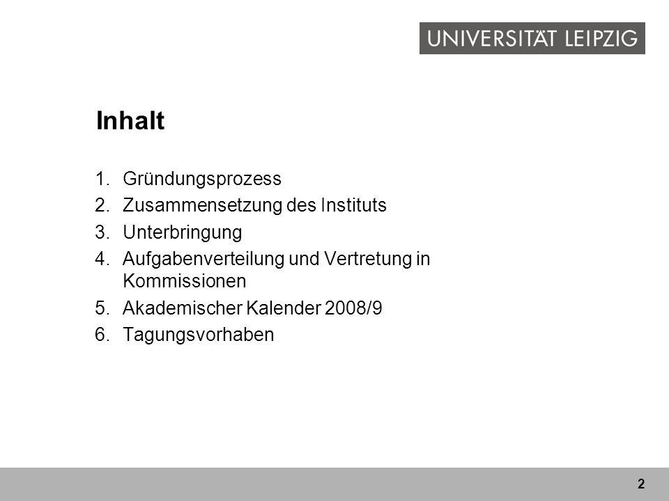 Inhalt Gründungsprozess Zusammensetzung des Instituts Unterbringung