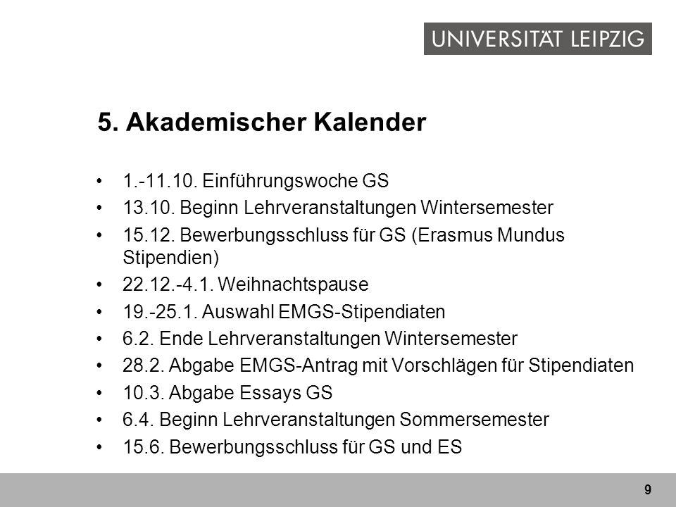 5. Akademischer Kalender