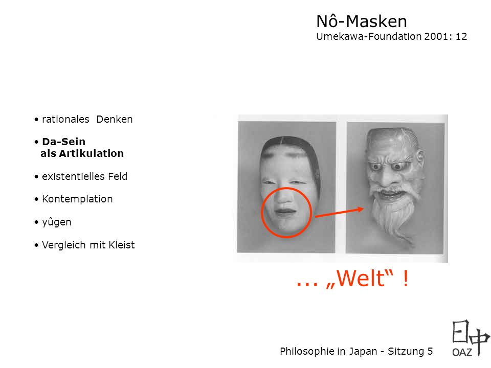 "... ""Welt ! Nô-Masken Umekawa-Foundation 2001: 12 rationales Denken"