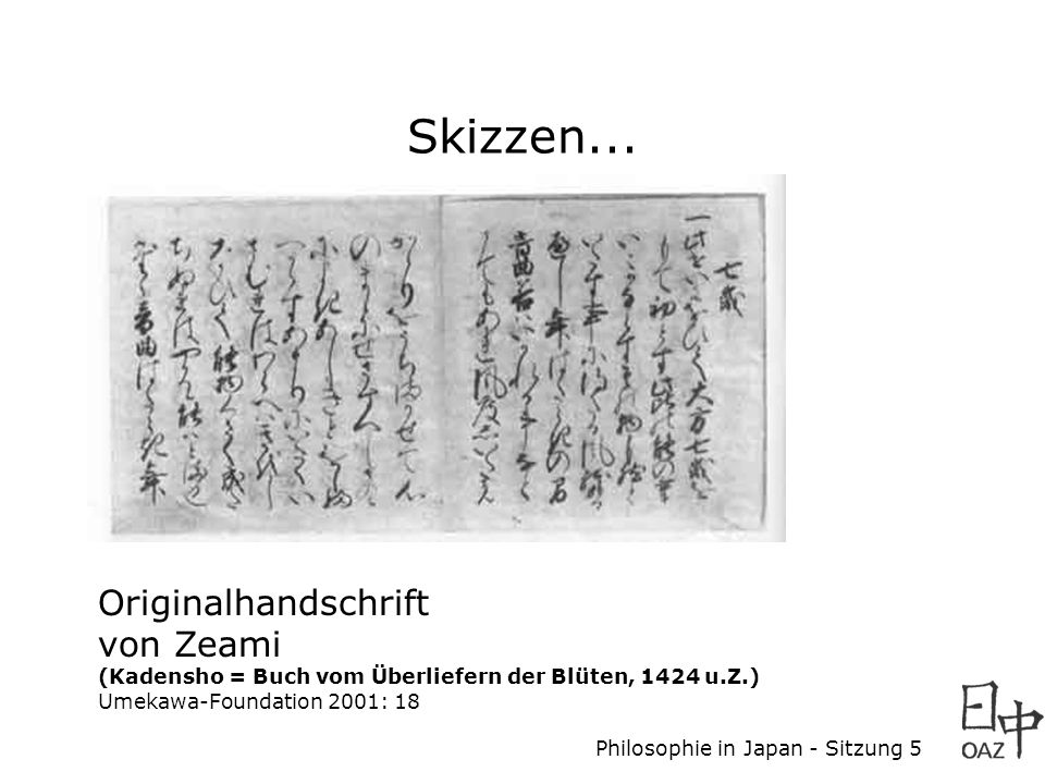 Skizzen... Originalhandschrift von Zeami (Kadensho = Buch vom Überliefern der Blüten, 1424 u.Z.) Umekawa-Foundation 2001: 18.