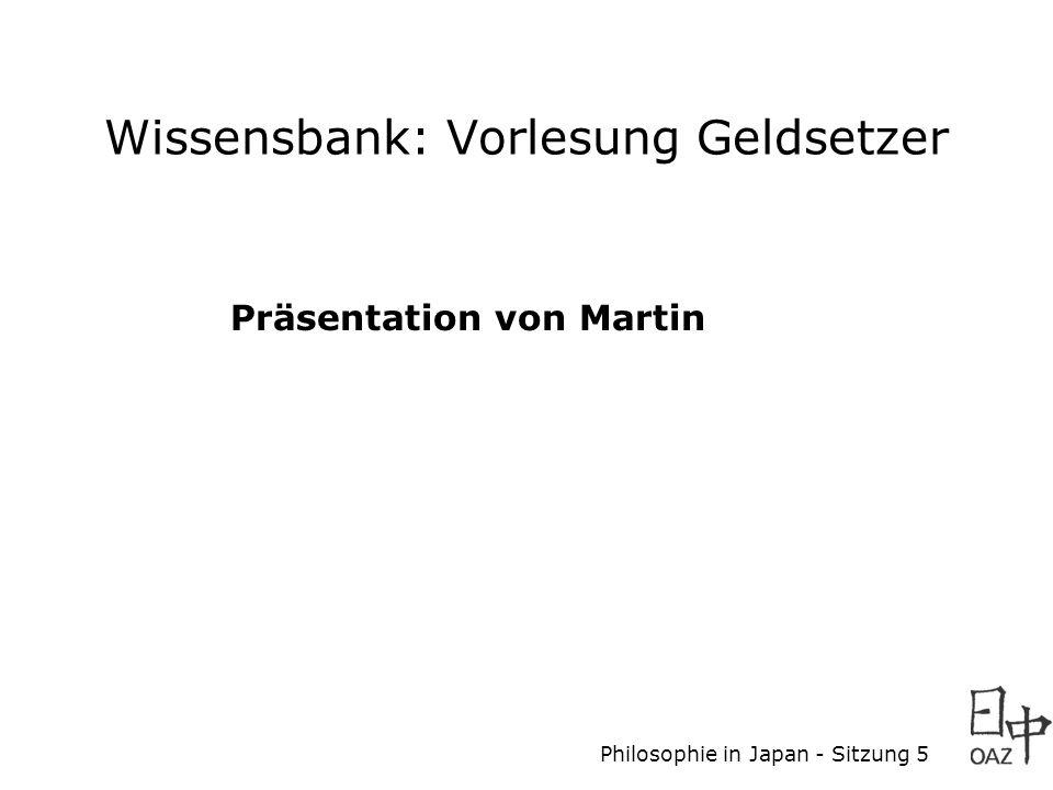 Wissensbank: Vorlesung Geldsetzer