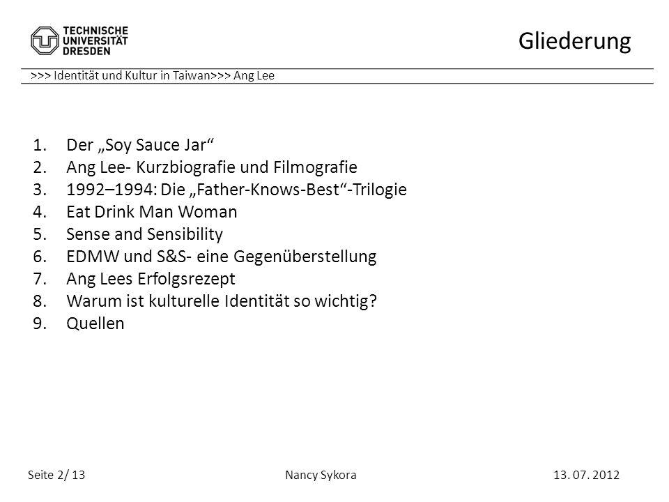 """Gliederung Der """"Soy Sauce Jar Ang Lee- Kurzbiografie und Filmografie"""