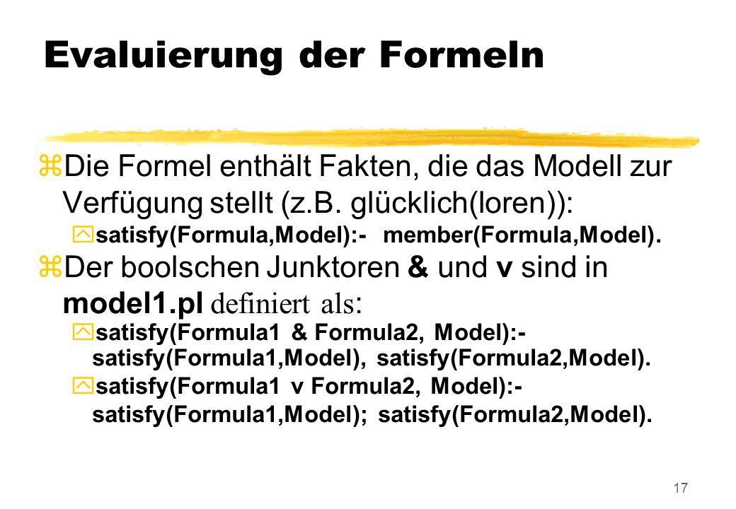Evaluierung der Formeln