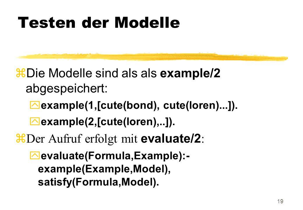 Testen der Modelle Die Modelle sind als als example/2 abgespeichert: