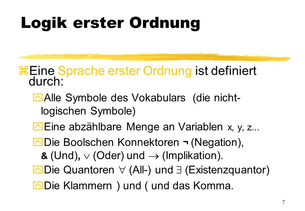 Logik erster Ordnung Eine Sprache erster Ordnung ist definiert durch: