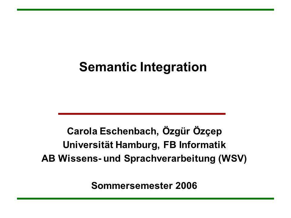 Semantic Integration Carola Eschenbach, Özgür Özçep