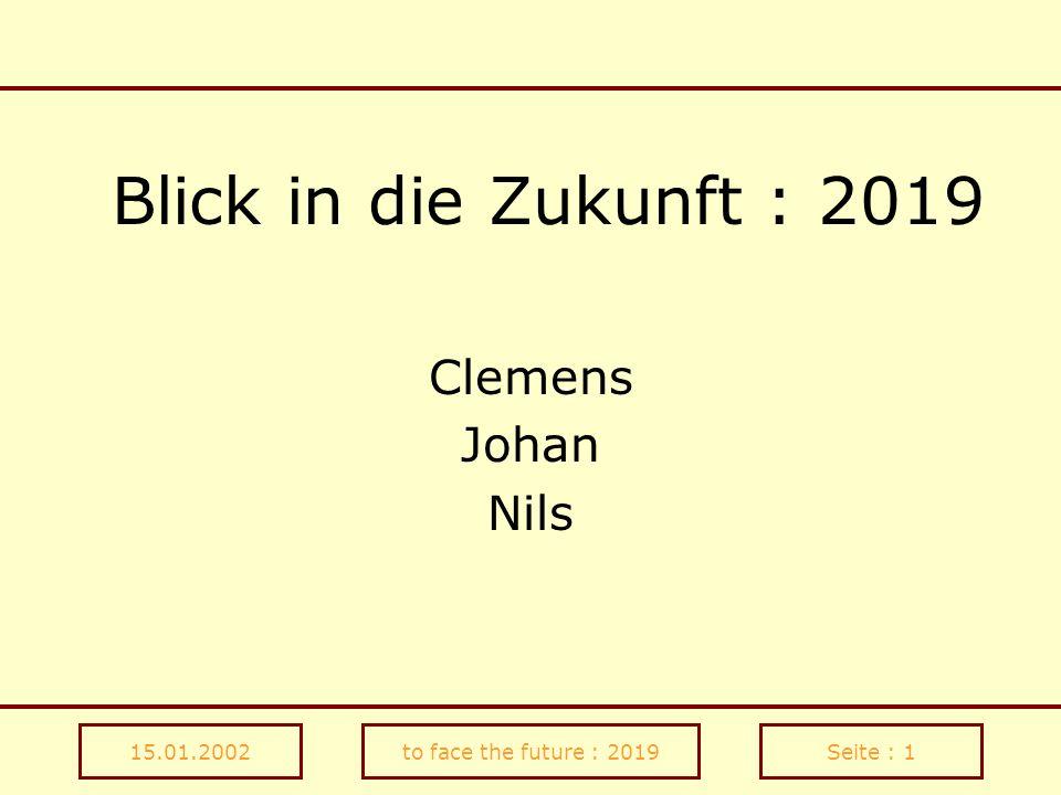 Blick in die Zukunft : 2019 Clemens Johan Nils 15.01.2002