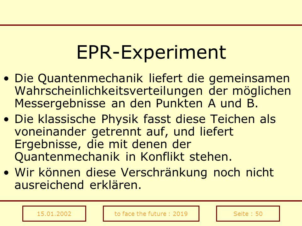 EPR-Experiment Die Quantenmechanik liefert die gemeinsamen Wahrscheinlichkeitsverteilungen der möglichen Messergebnisse an den Punkten A und B.
