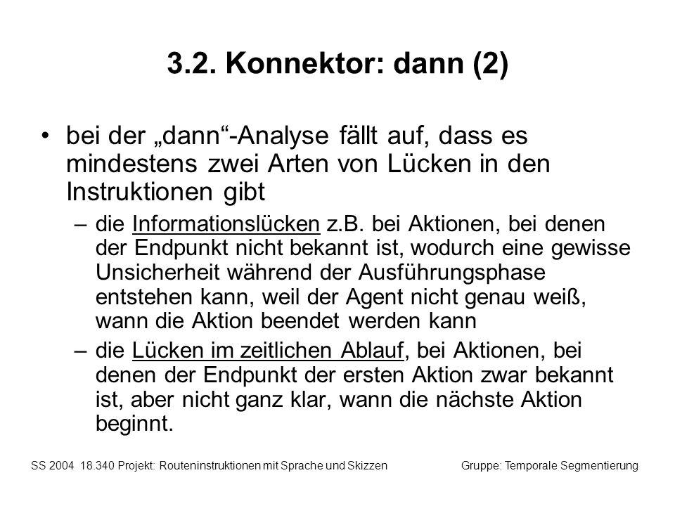"""3.2. Konnektor: dann (2) bei der """"dann -Analyse fällt auf, dass es mindestens zwei Arten von Lücken in den Instruktionen gibt."""