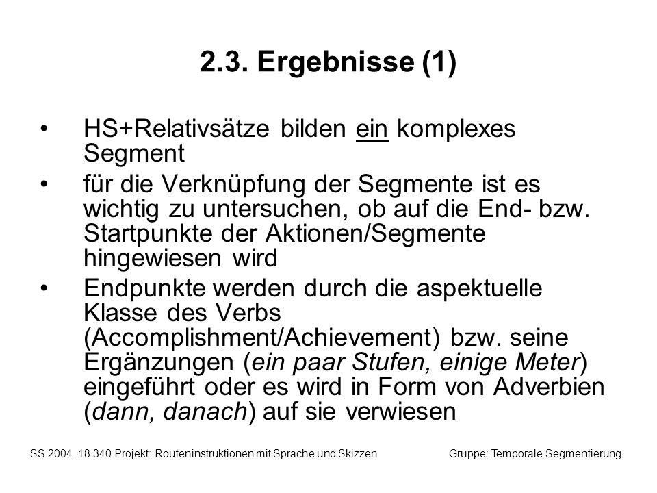 2.3. Ergebnisse (1) HS+Relativsätze bilden ein komplexes Segment