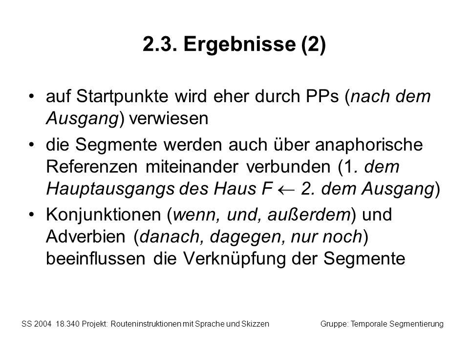 2.3. Ergebnisse (2) auf Startpunkte wird eher durch PPs (nach dem Ausgang) verwiesen.