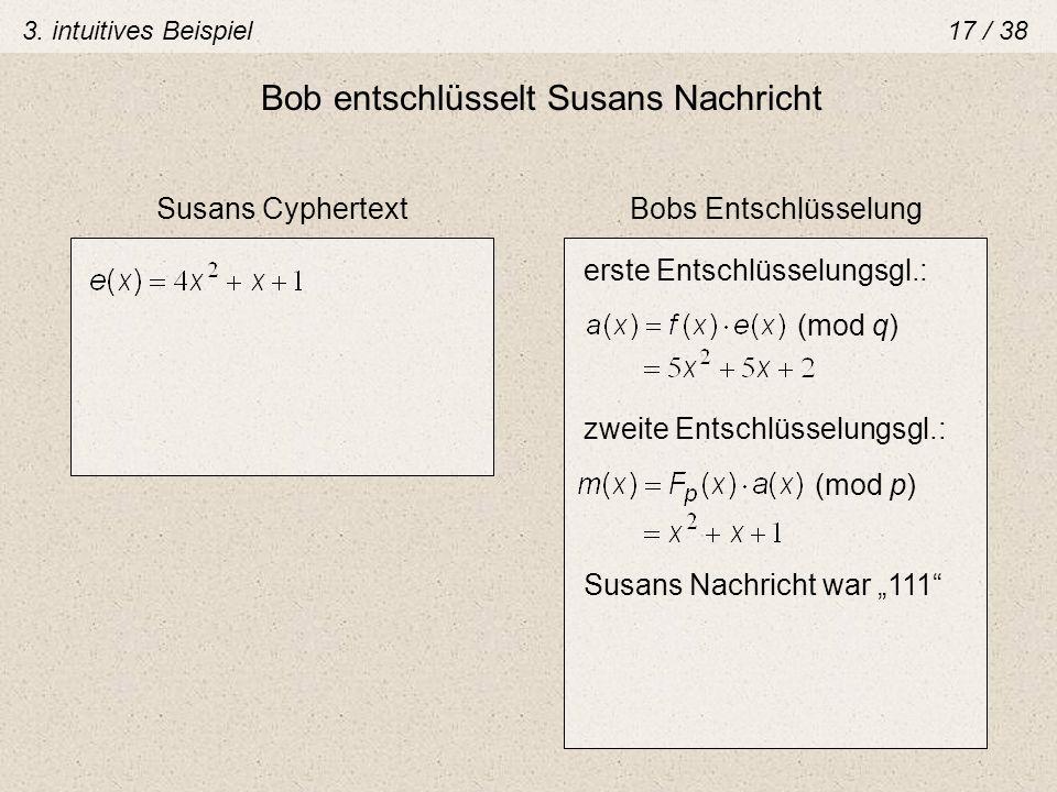 Bob entschlüsselt Susans Nachricht