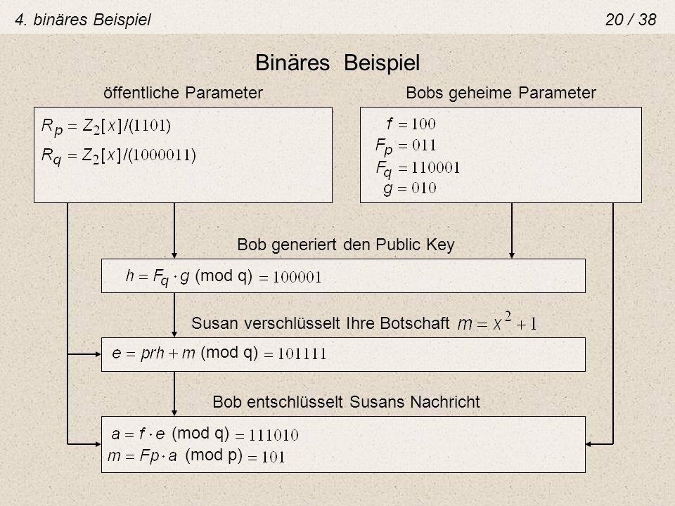 Binäres Beispiel 4. binäres Beispiel 20 / 38 öffentliche Parameter