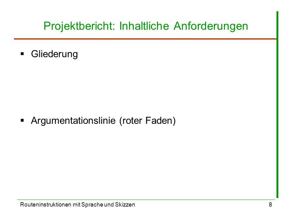 Projektbericht: Inhaltliche Anforderungen