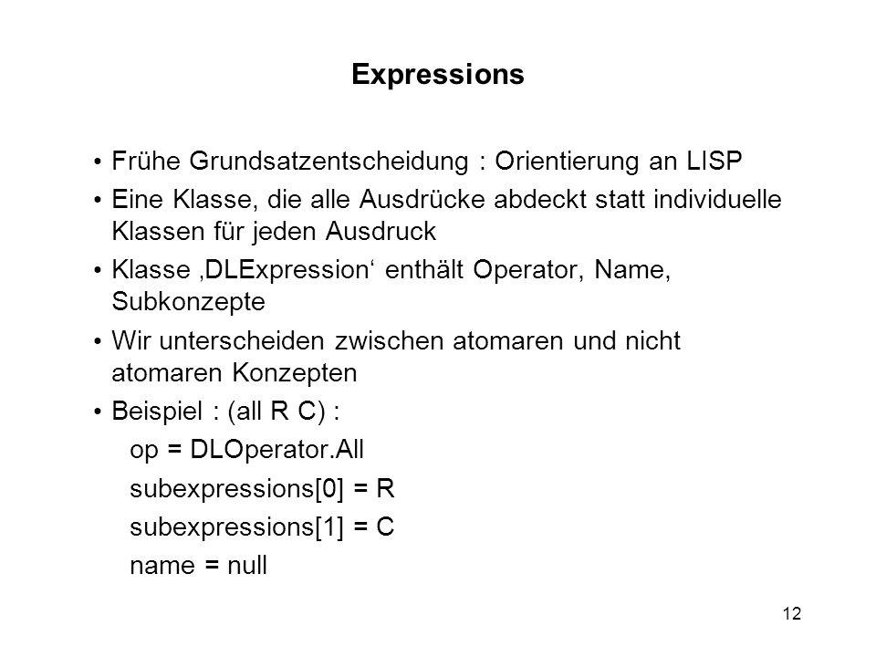 Expressions Frühe Grundsatzentscheidung : Orientierung an LISP