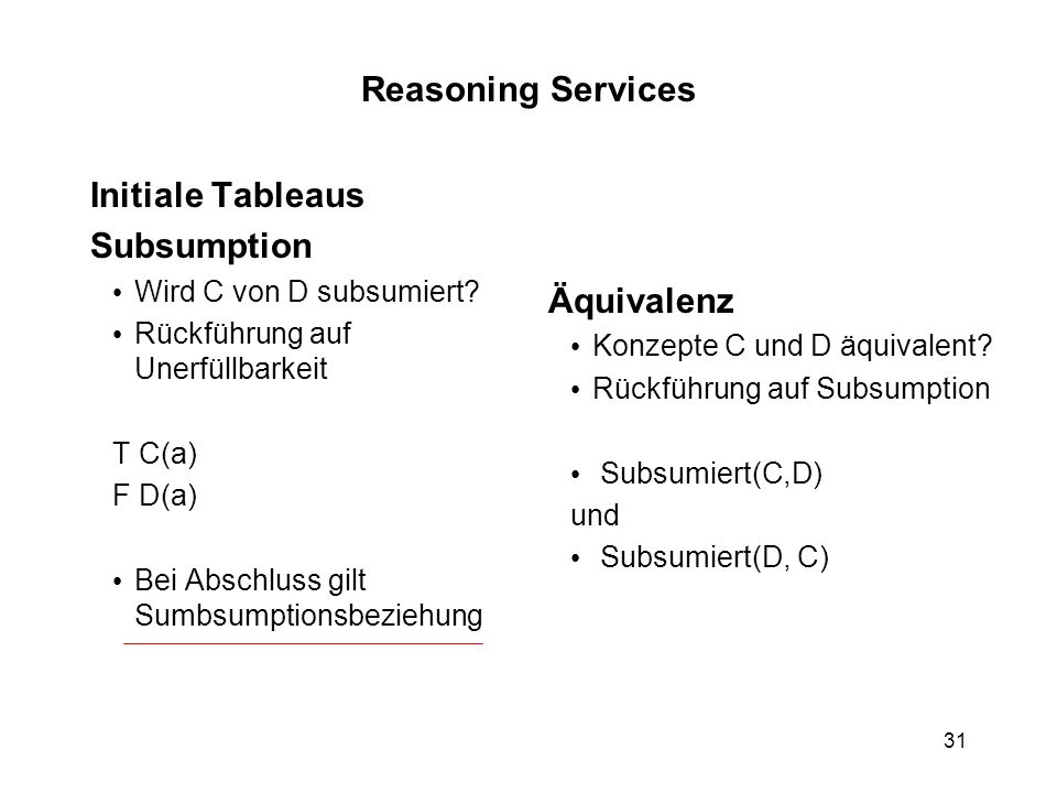 Reasoning Services Initiale Tableaus Subsumption Äquivalenz