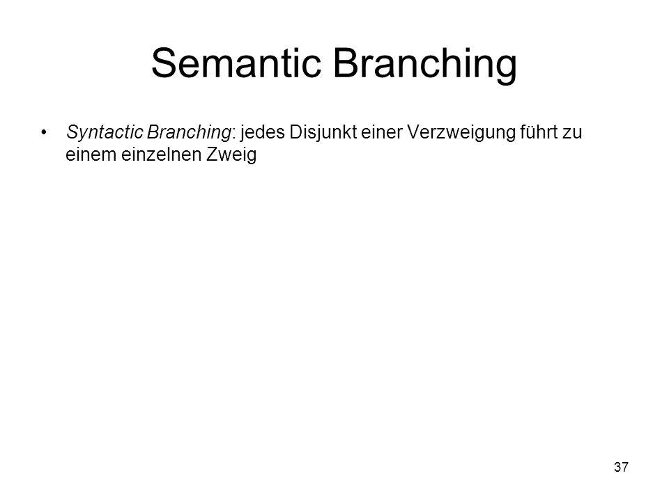 Semantic Branching Syntactic Branching: jedes Disjunkt einer Verzweigung führt zu einem einzelnen Zweig.