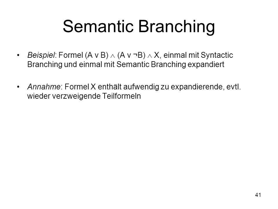 Semantic Branching Beispiel: Formel (A ν B)  (A ν ¬B)  X, einmal mit Syntactic Branching und einmal mit Semantic Branching expandiert.