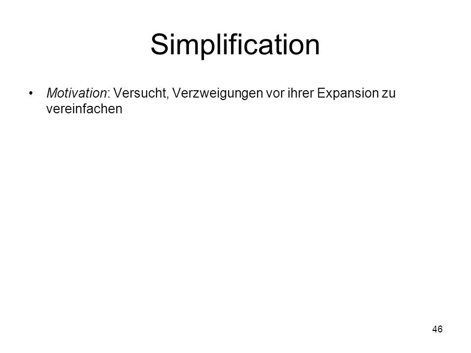 Simplification Motivation: Versucht, Verzweigungen vor ihrer Expansion zu vereinfachen