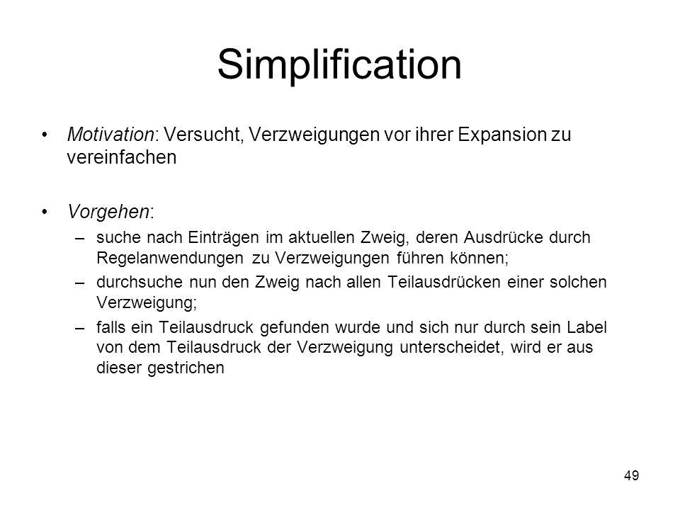 Simplification Motivation: Versucht, Verzweigungen vor ihrer Expansion zu vereinfachen. Vorgehen: