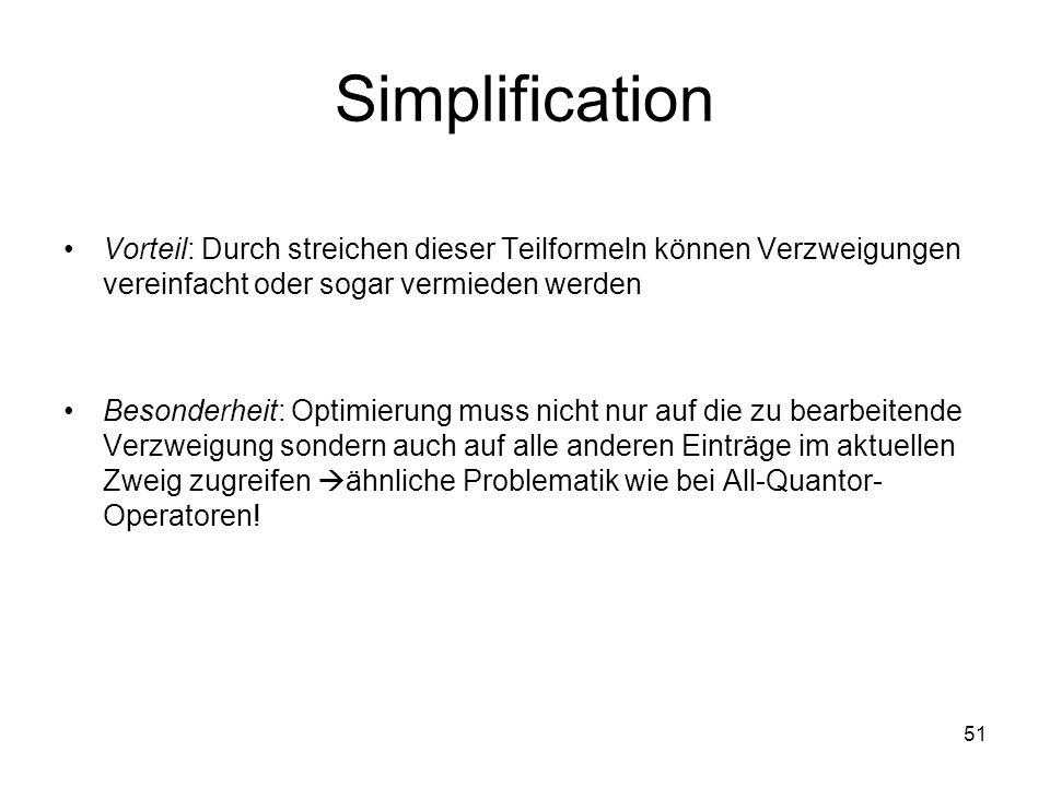 Simplification Vorteil: Durch streichen dieser Teilformeln können Verzweigungen vereinfacht oder sogar vermieden werden.