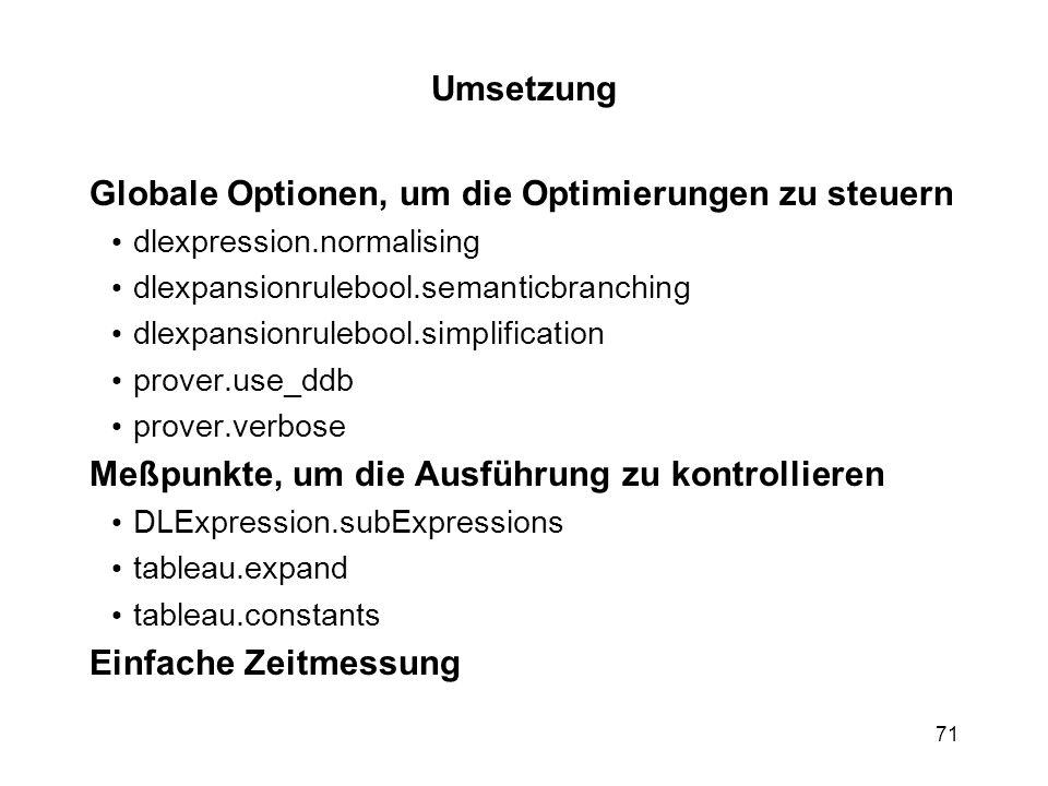 Globale Optionen, um die Optimierungen zu steuern