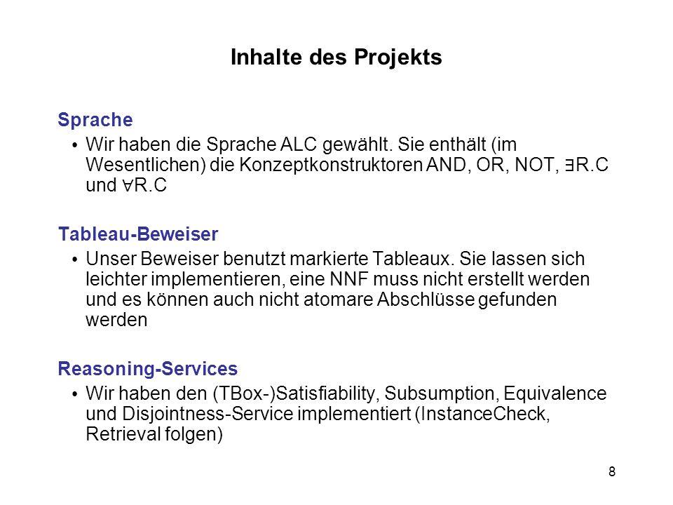 Inhalte des Projekts Sprache
