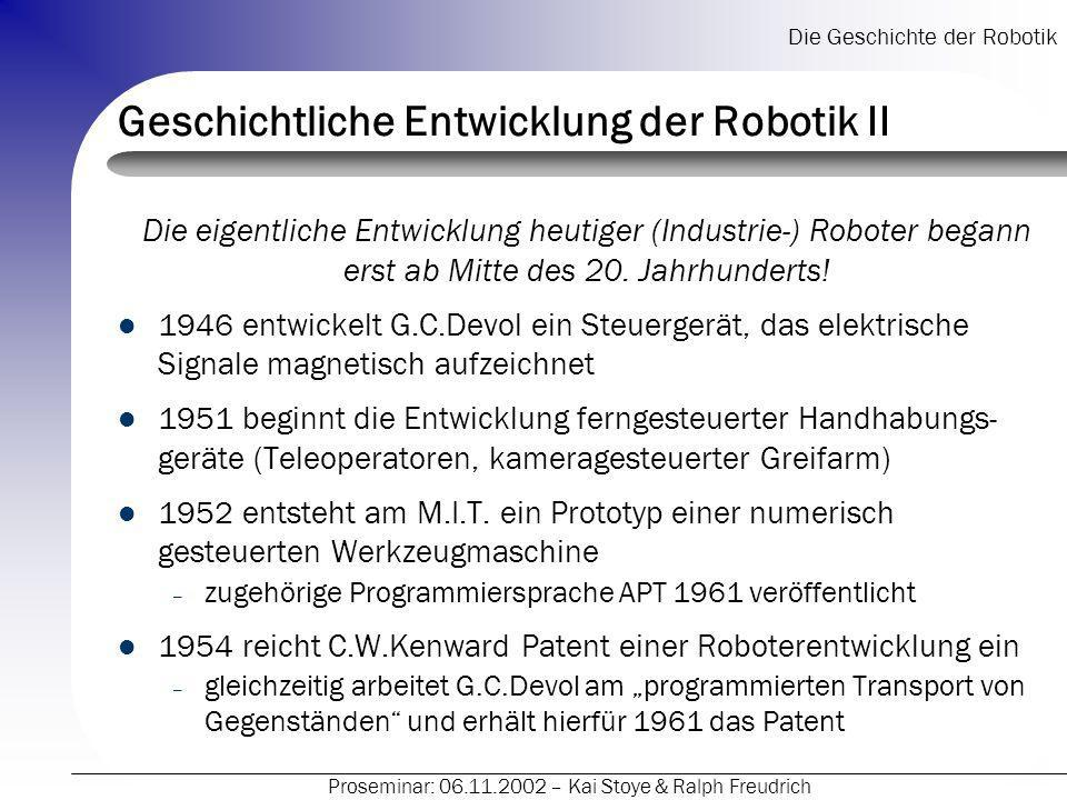 Geschichtliche Entwicklung der Robotik II
