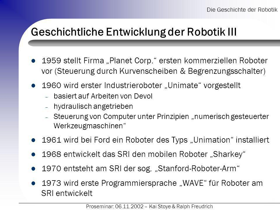 Geschichtliche Entwicklung der Robotik III