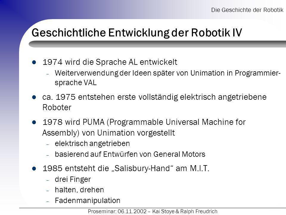 Geschichtliche Entwicklung der Robotik IV