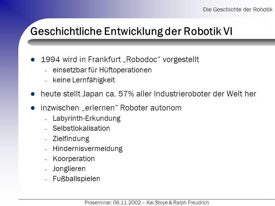 Geschichtliche Entwicklung der Robotik VI