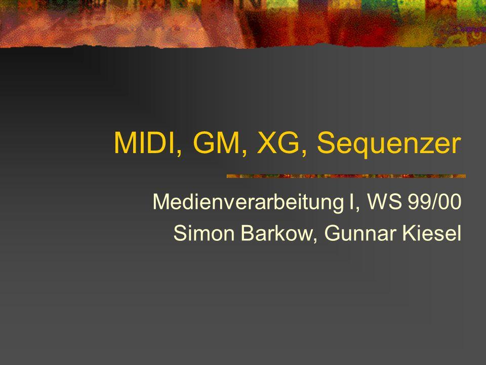 Medienverarbeitung I, WS 99/00 Simon Barkow, Gunnar Kiesel