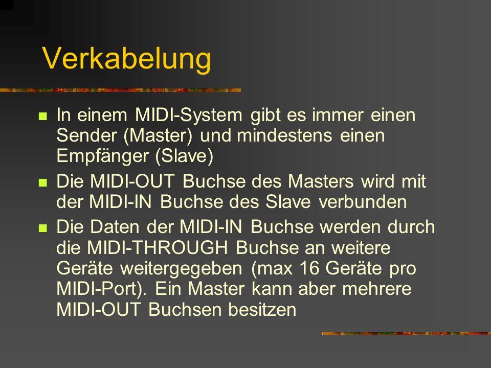 Verkabelung In einem MIDI-System gibt es immer einen Sender (Master) und mindestens einen Empfänger (Slave)