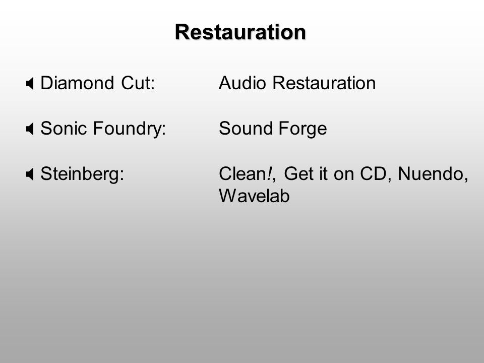 Restauration Diamond Cut: Audio Restauration