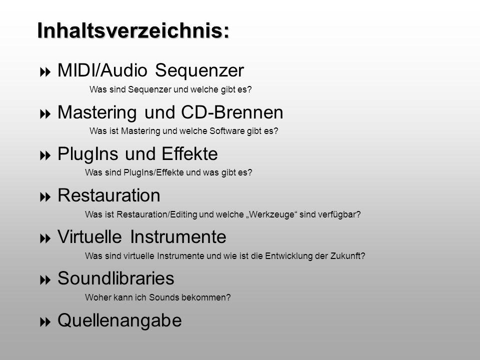 Inhaltsverzeichnis: MIDI/Audio Sequenzer