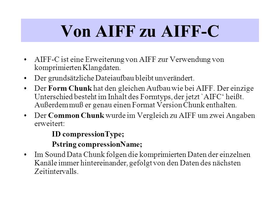 Von AIFF zu AIFF-C AIFF-C ist eine Erweiterung von AIFF zur Verwendung von komprimierten Klangdaten.