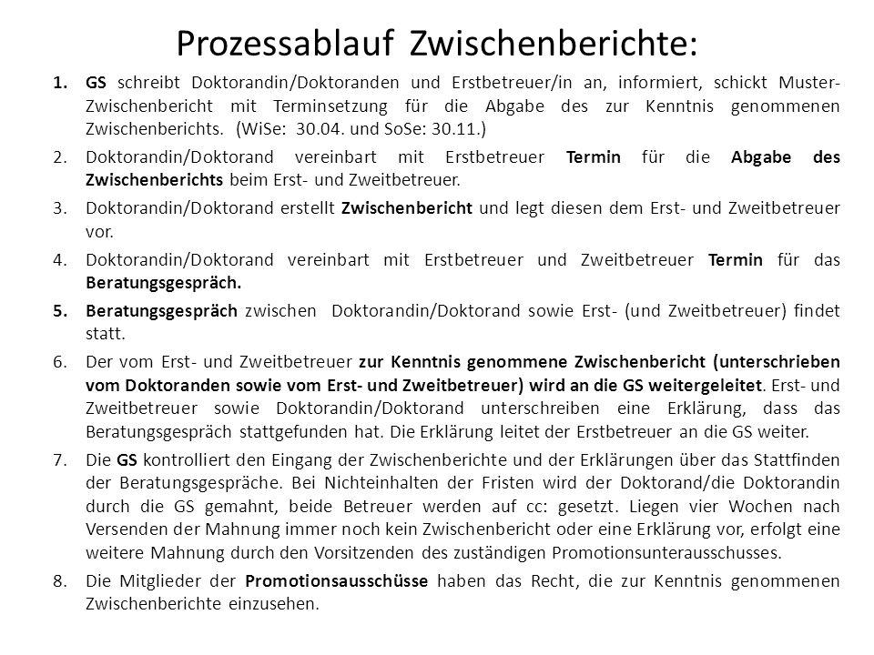 Prozessablauf Zwischenberichte: