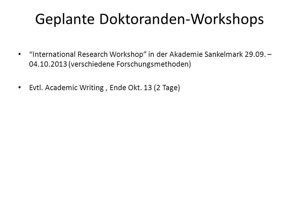 Geplante Doktoranden-Workshops