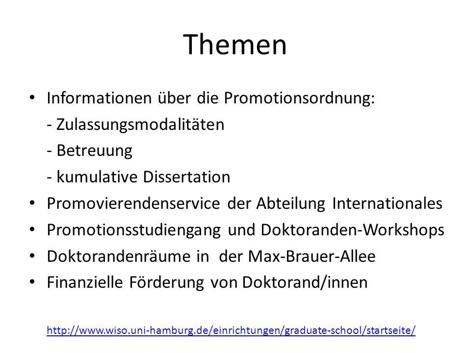 Themen Informationen über die Promotionsordnung: