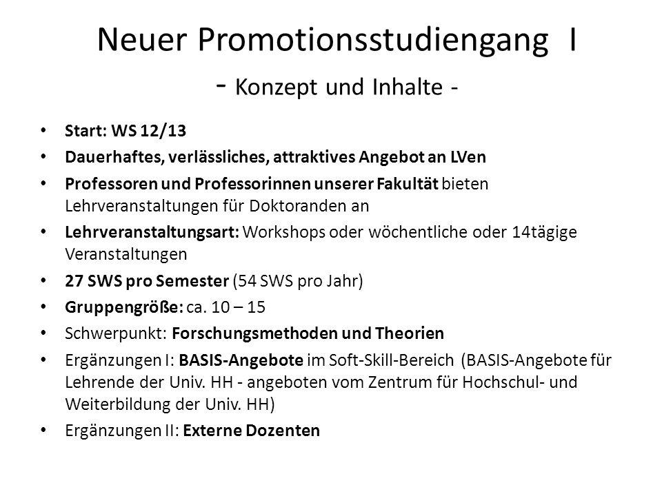 Neuer Promotionsstudiengang I - Konzept und Inhalte -
