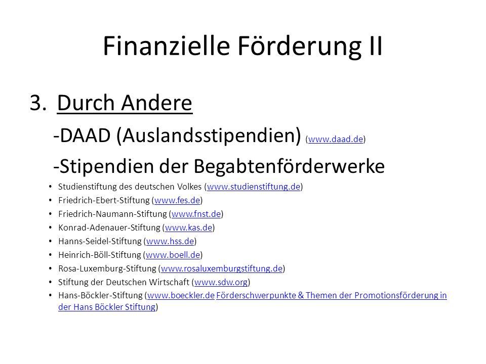 Finanzielle Förderung II