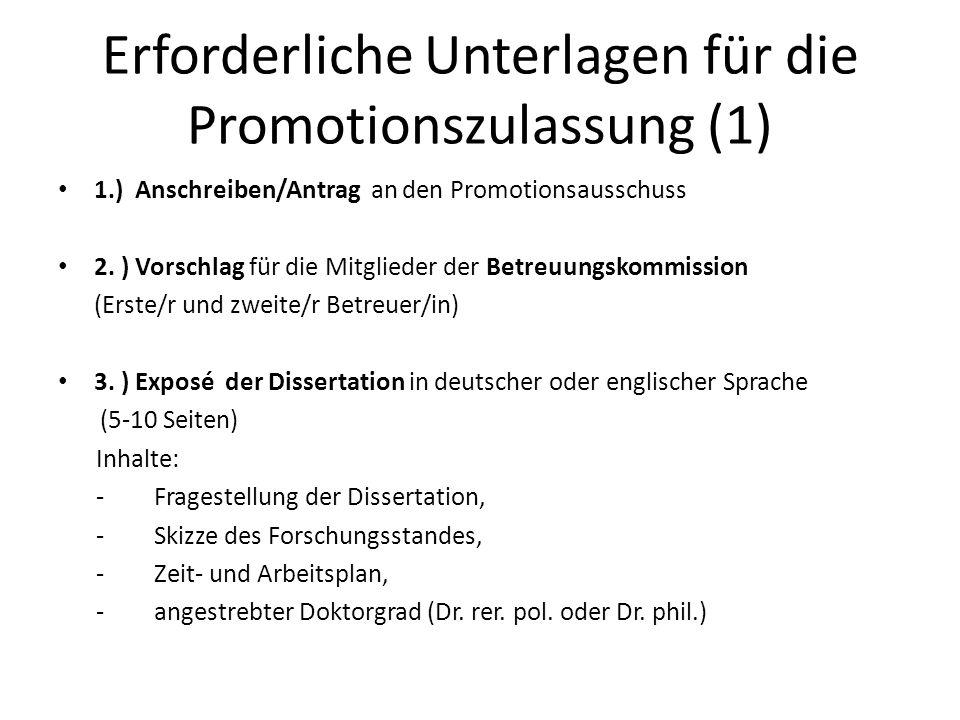 Erforderliche Unterlagen für die Promotionszulassung (1)