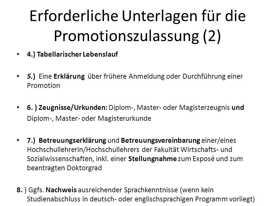 Erforderliche Unterlagen für die Promotionszulassung (2)