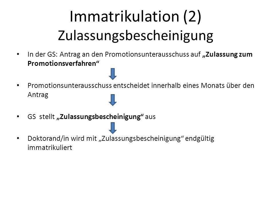 Immatrikulation (2) Zulassungsbescheinigung