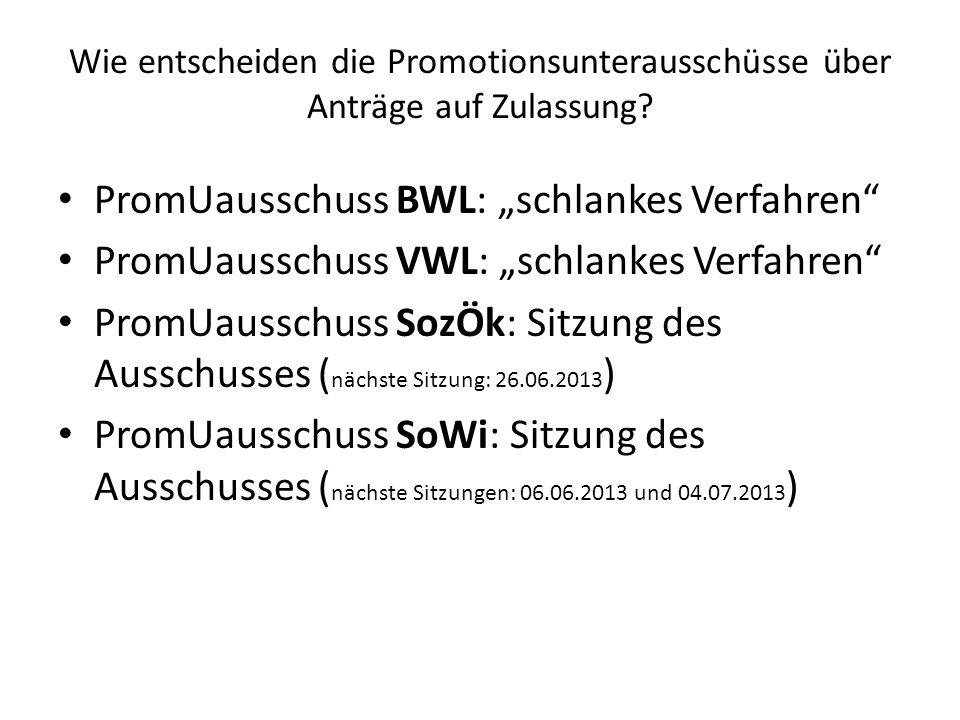 """PromUausschuss BWL: """"schlankes Verfahren"""