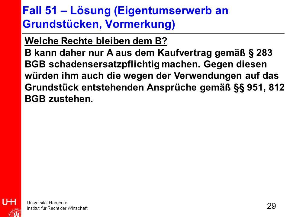 Fall 51 – Lösung (Eigentumserwerb an Grundstücken, Vormerkung)