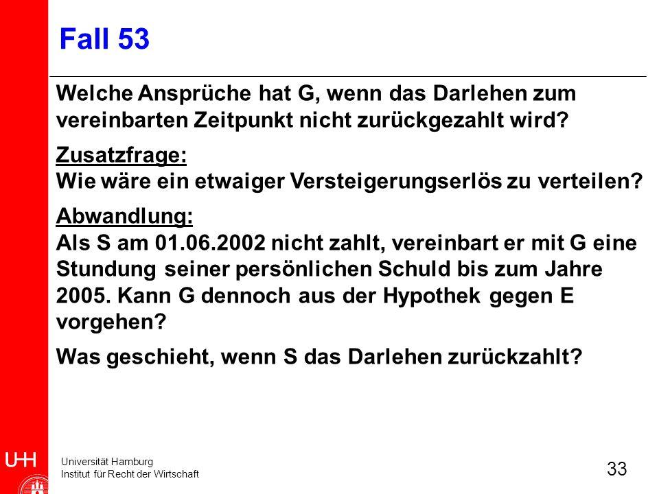 Fall 53 Welche Ansprüche hat G, wenn das Darlehen zum vereinbarten Zeitpunkt nicht zurückgezahlt wird