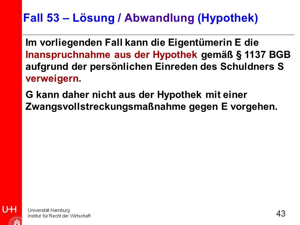 Fall 53 – Lösung / Abwandlung (Hypothek)