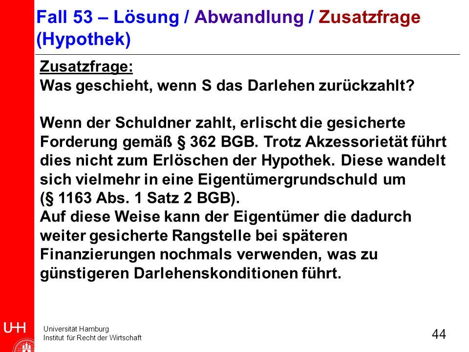 Fall 53 – Lösung / Abwandlung / Zusatzfrage (Hypothek)