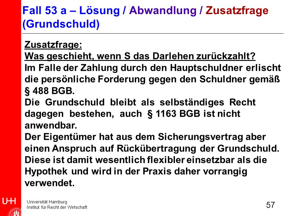 Fall 53 a – Lösung / Abwandlung / Zusatzfrage (Grundschuld)